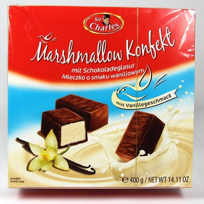Marshmallow Konfekt mit Schokoladenglasur mit Vanillegeschmack