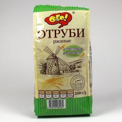 """ОТРУБИ """"РЖАНЫЕ"""" ЭКСТРУДИРОВАННЫЕ """"ОГО!"""" - 200г"""